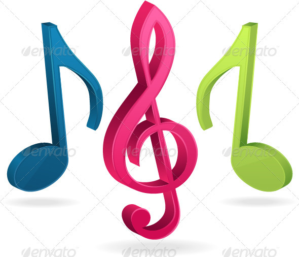 590x506 Photo Collection Colorful Music Notes 3d