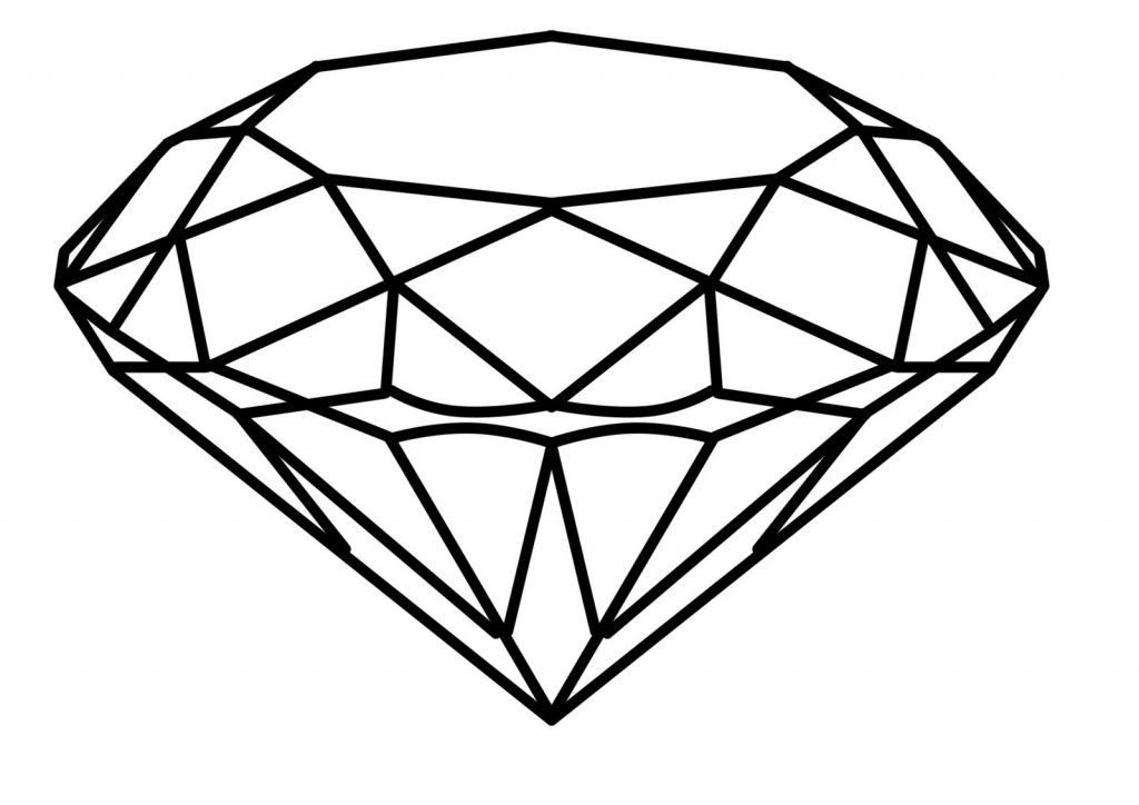 1024x724 3d Diamond Drawing Coloring, Coloring Pages And Kid