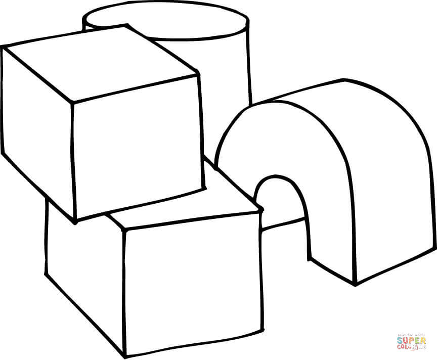 864x714 3D Shapes as Play Cubes coloring page Free Printable Coloring Pages