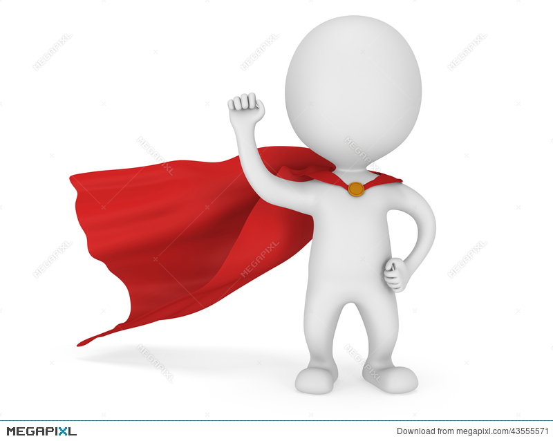 800x638 3d Man Brave Superhero With Red Cloak Illustration 43555571