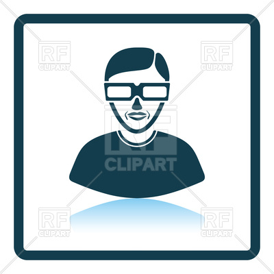 400x400 Icon Of Man With 3d Glasses Royalty Free Vector Clip Art Image