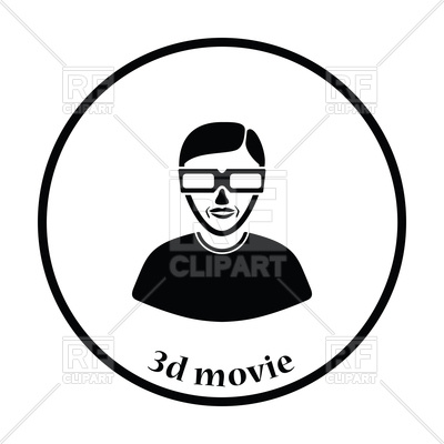 400x400 Thin Circle Design Of Man With 3d Glasses Icon Royalty Free Vector