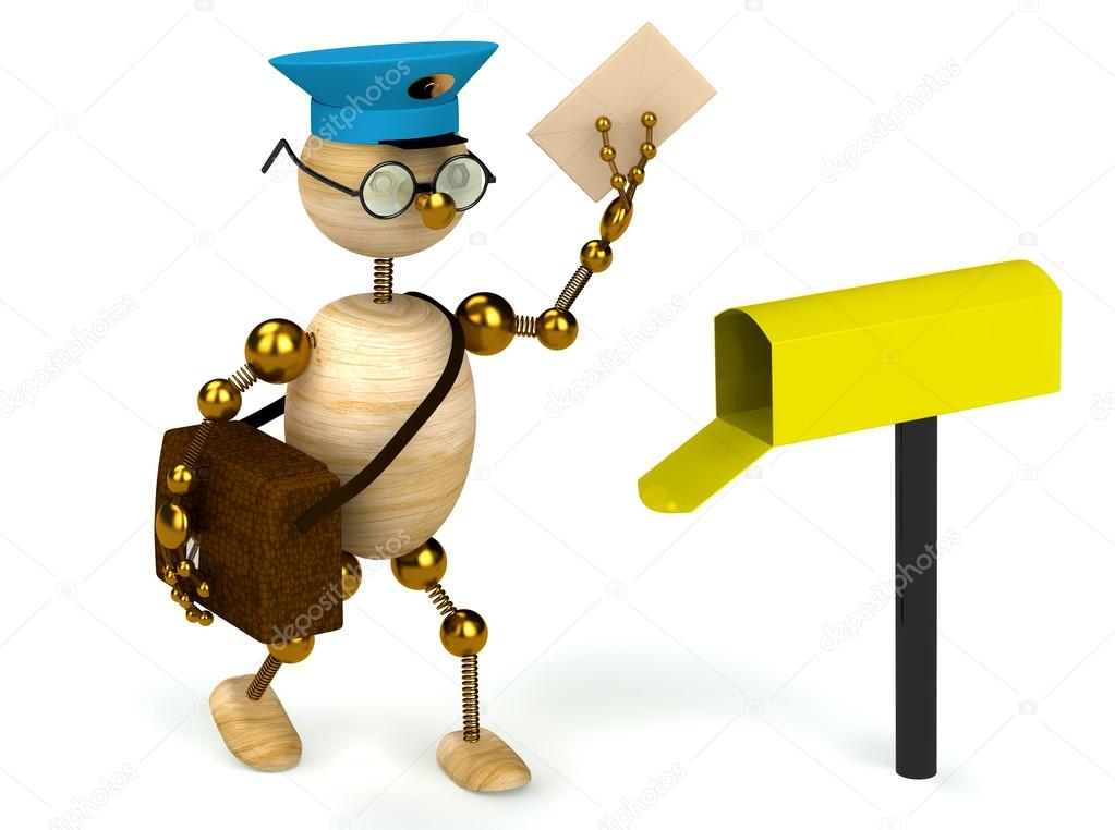 1023x762 3d Wood Man Postman Bring A Letter Stock Photo Redwine2001