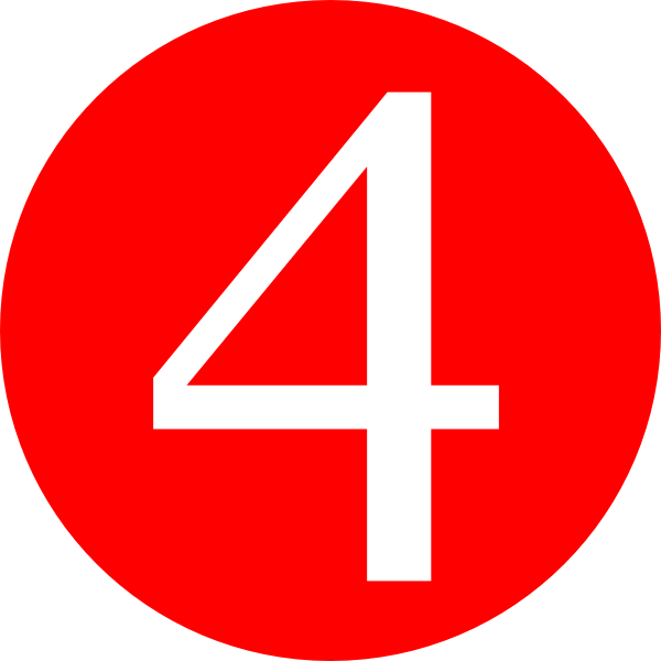600x600 Red, Rounded,with Number 4 Clip Art