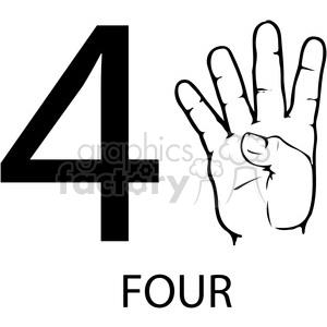 300x300 Royalty Free Asl Sign Language 4 Clipart Illustration Worksheet