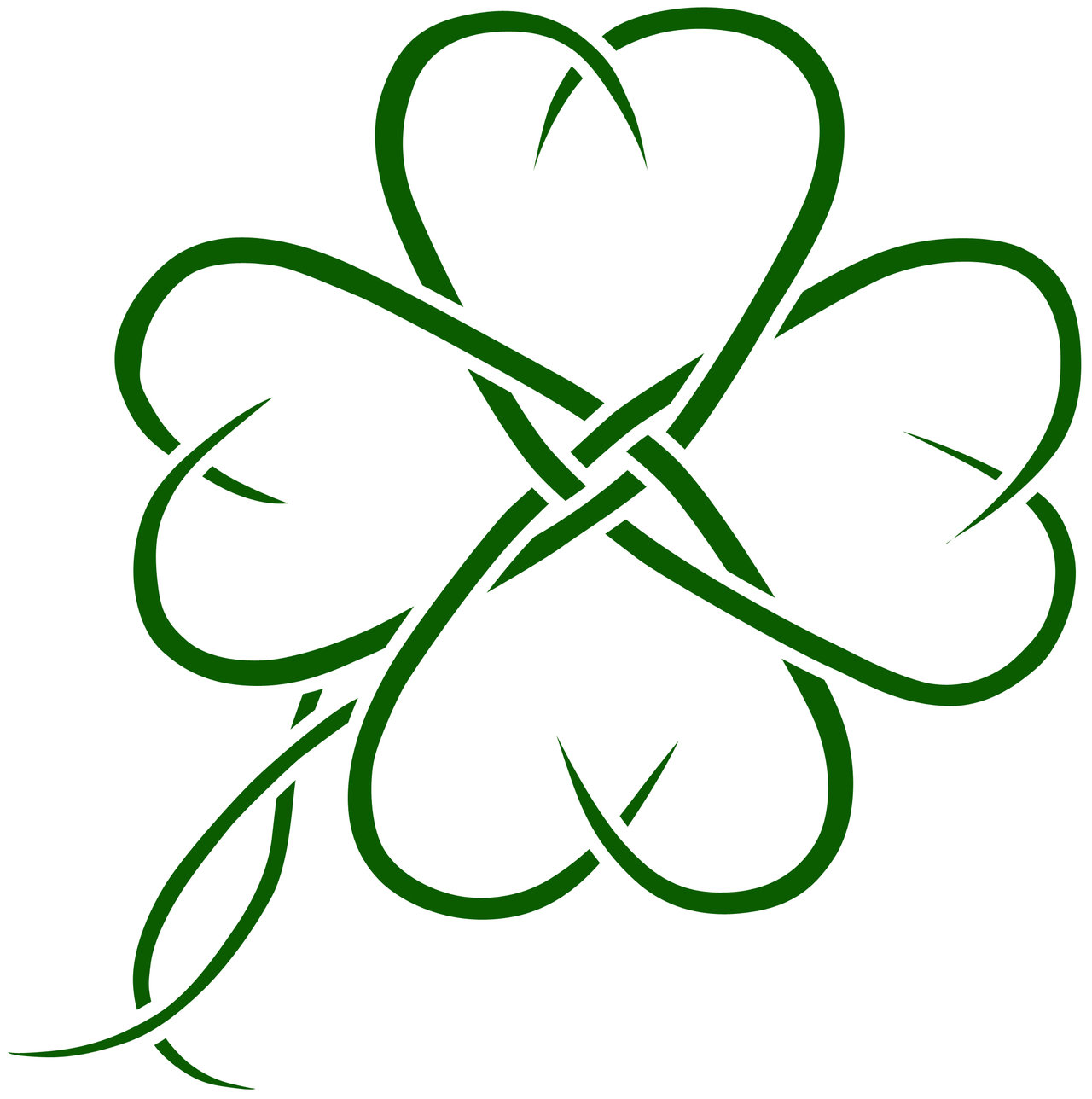 1280x1288 Outline Four Leaf Clover Clipart