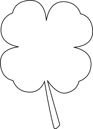 361x500 Black And White Four Leaf Clover Clip Art