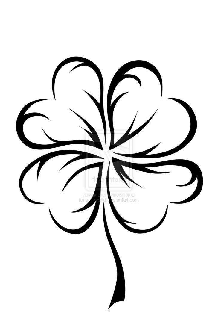 729x1095 4 Leaf Clover Drawing