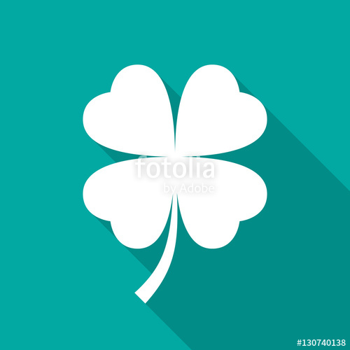 500x500 Four Leaf Clover Icon With Long Shadow. Flat Design Style. Clover