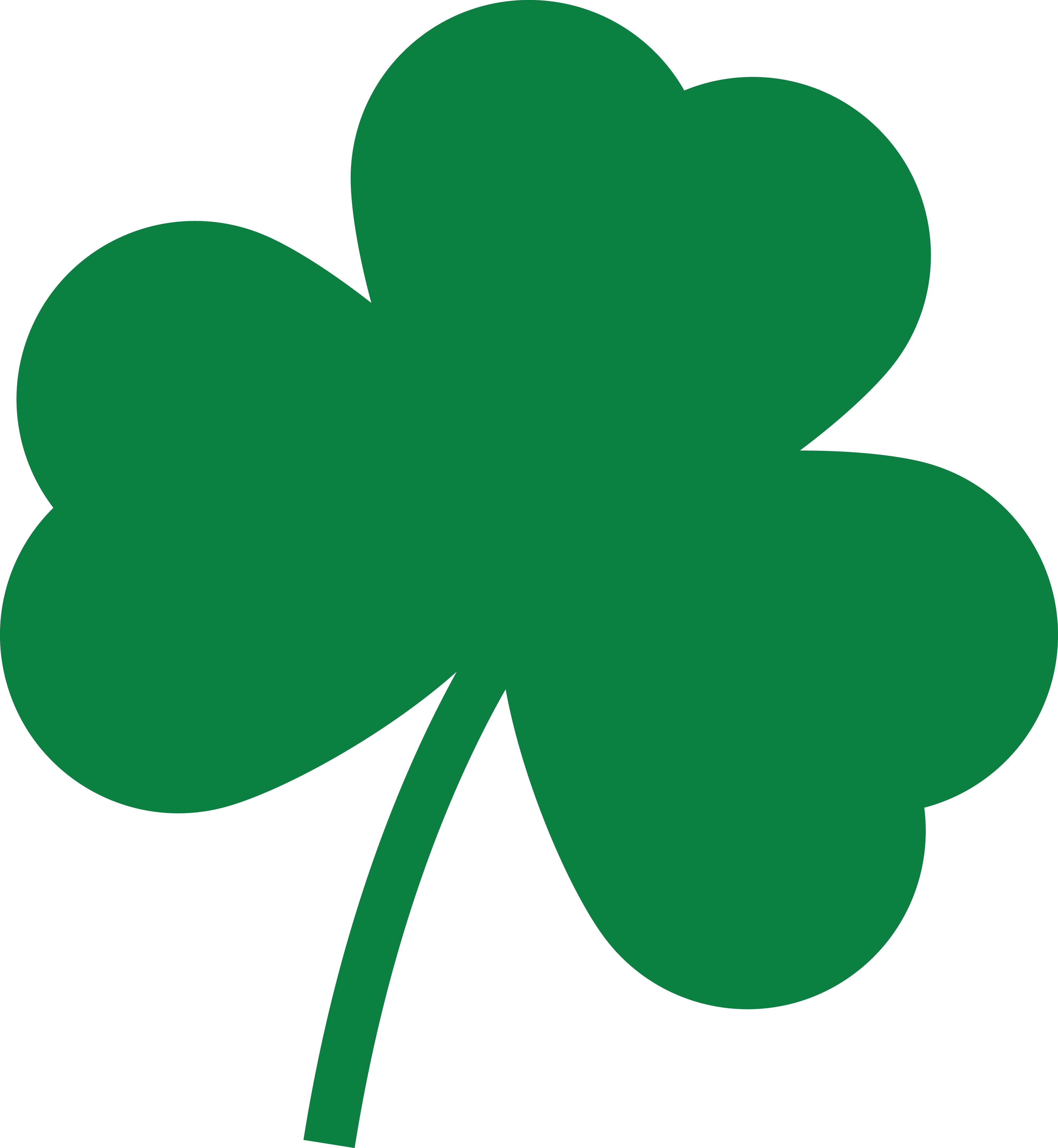 4000x4342 Free Clipart Of A St Paddys Day Solid Green Shamrock Four Leaf Clover
