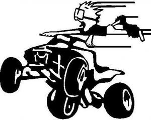 300x239 Guy Flying On Four Wheeler Vinyl Decal Your Color Choice Sticker