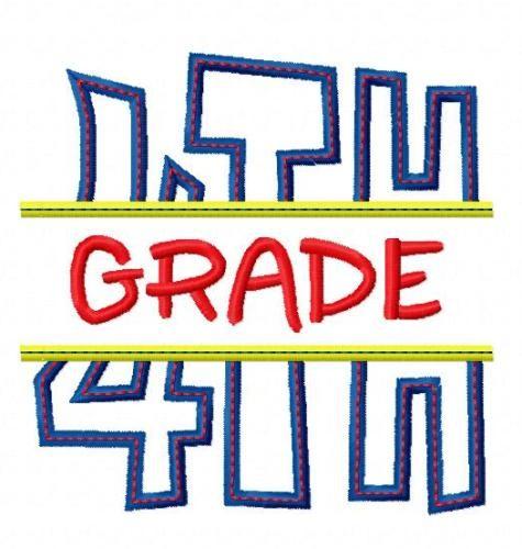 475x500 4th Fourth Grade Applique Back To School