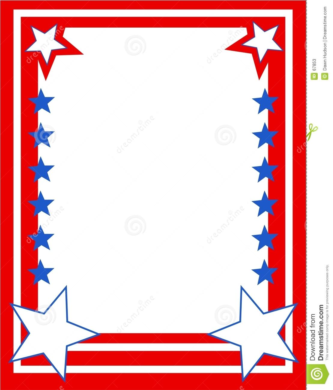 1109x1300 4th Of July Patriotic Border