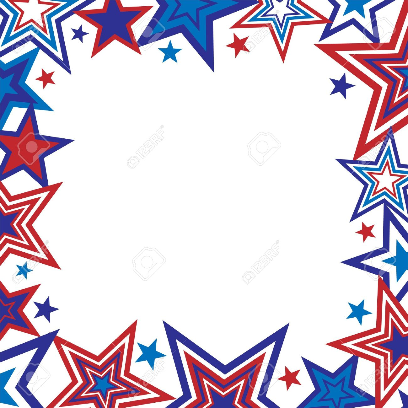 1300x1300 Illustration Of Red And Blue Stars Border On White Background