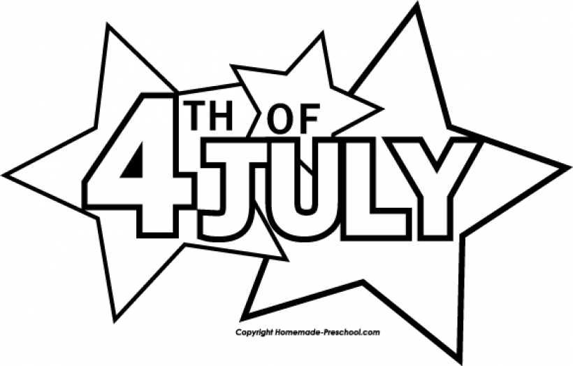 820x523 Free July 4th Clipart Inside July Clipart Black And White July