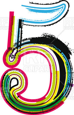 259x400 Colorful Number 5, Five Royalty Free Vector Clip Art Image