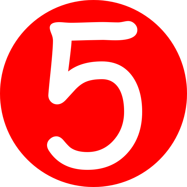 600x600 Red, Rounded,with Number 5 Clip Art