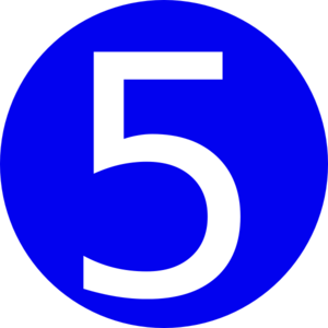 300x300 Blue, Rounded,with Number 5 Clip Art