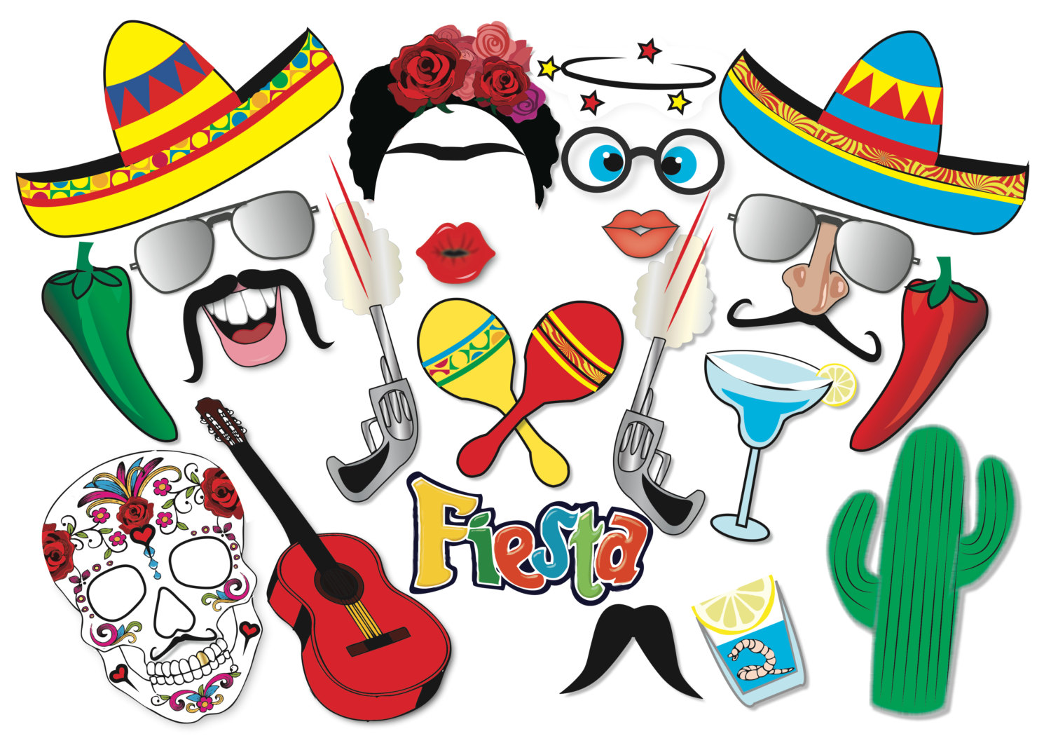 1500x1060 Cinco De Mayo Mexican Fiesta Party Photo Booth Props Set 22