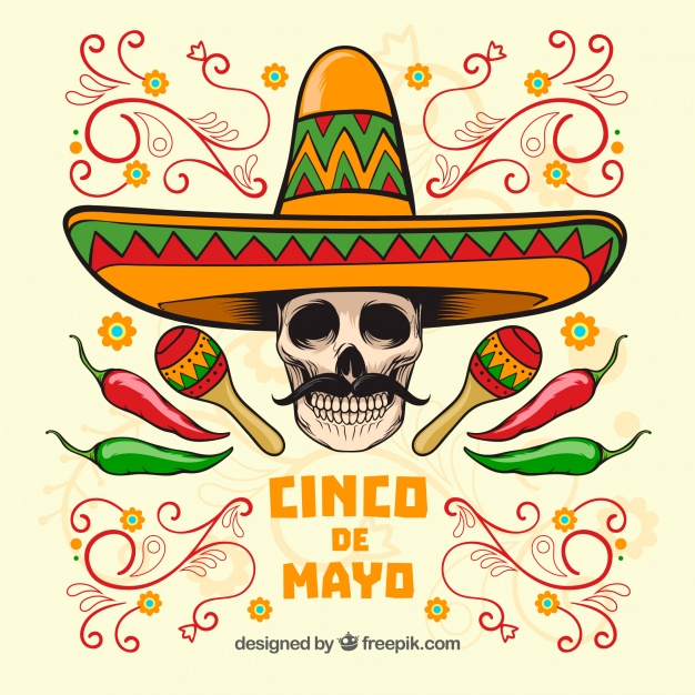 626x626 Cinco De Mayo Skull Background With Mexican Hat Vector Free Download