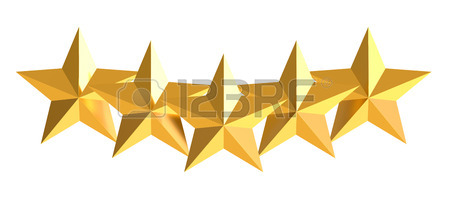 450x197 5 Stars Concept, 3d Rendering Isolated On White Background Stock