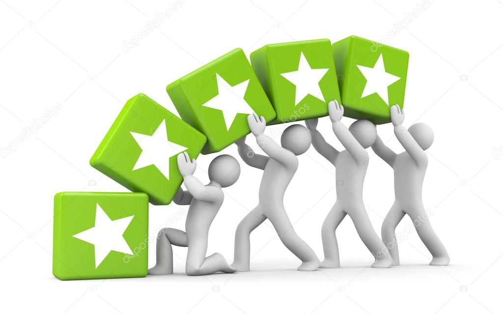 1024x640 5 Gold Stars. Teamwork Metaphor Stock Photo