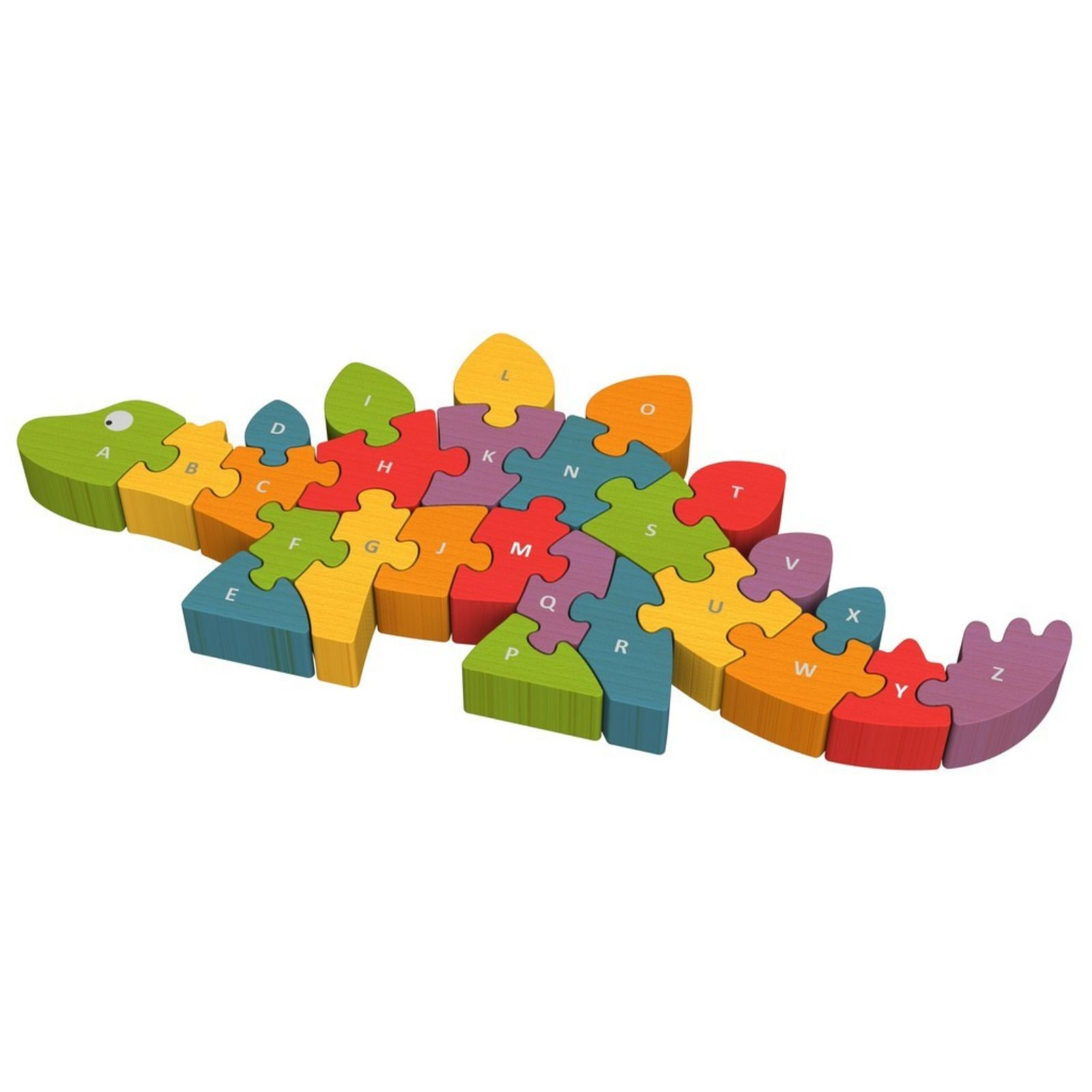1600x1600 Begin Again Colourful Wooden Dinosaur A Z Double Sided Puzzle 26