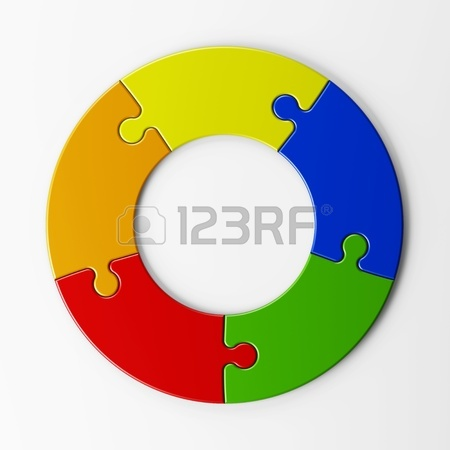 450x450 Isolated Four Puzzle Pieces With Clipping Path Stock Photo
