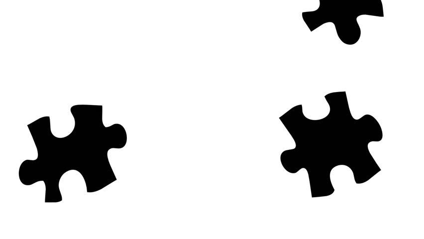 852x480 Matte, Background Puzzle Effect, 2 Pieces Puzzle. Stock Footage
