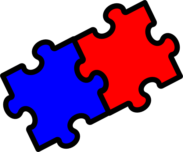 600x498 Two Puzzle Pieces Clip Art