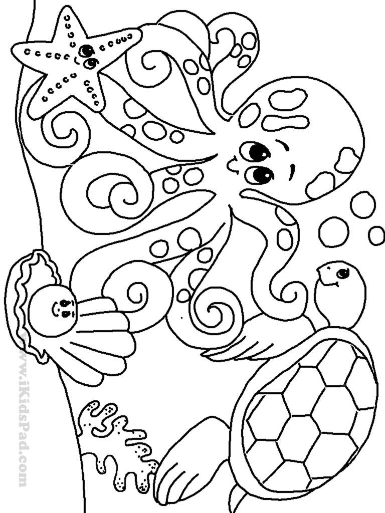 768x1024 Sea Animals Colouring Worksheets Free Printable Ocean Coloring