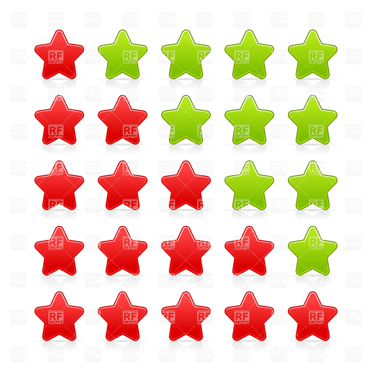 1200x1200 Rating Bar With Red And Green Stars Royalty Free Vector Clip Art