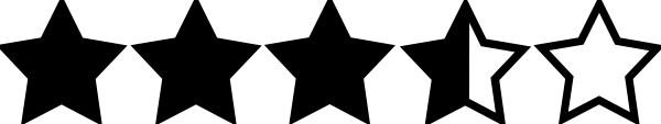 600x113 3.5 Star Rating Black Clip Art
