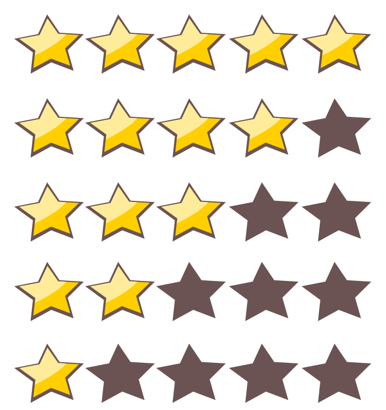 752x800 5 Star Rating Clipart