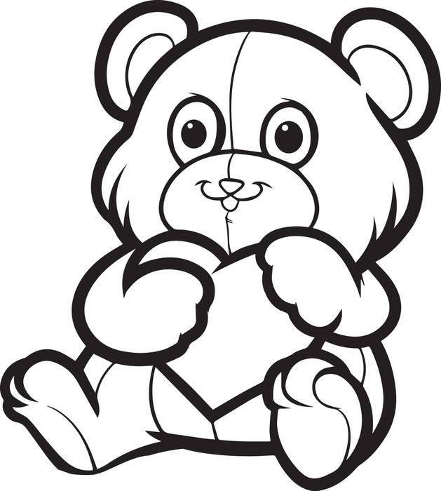 629x700 Free, Printable Valentine's Day Teddy Bear Coloring Page For Kids