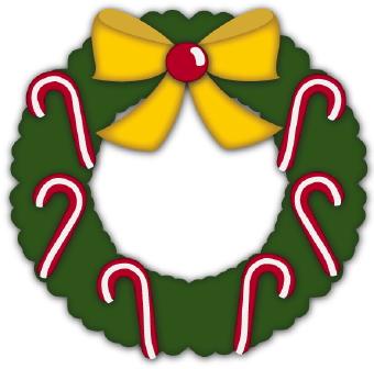 340x336 Christmas Wreath Candy Canes Clip Art