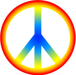 250x248 Rainbow Hippie Peace Sign Clip Art, Retro 60s Graphic