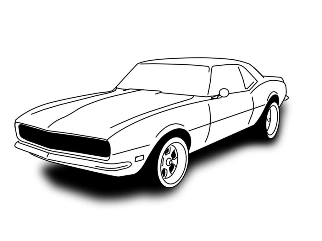 1024x768 Drawn Car 69 Camaro