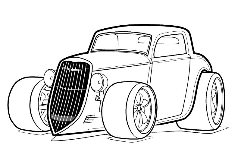 800x514 Hot Rod Coloring Page