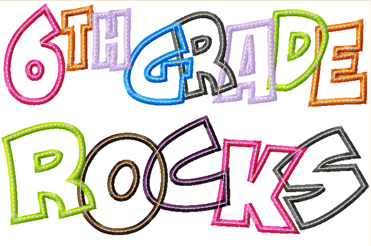 751x499 6th Grade Rocks Applique Designs 5x7 And 8x11 Hoop Size