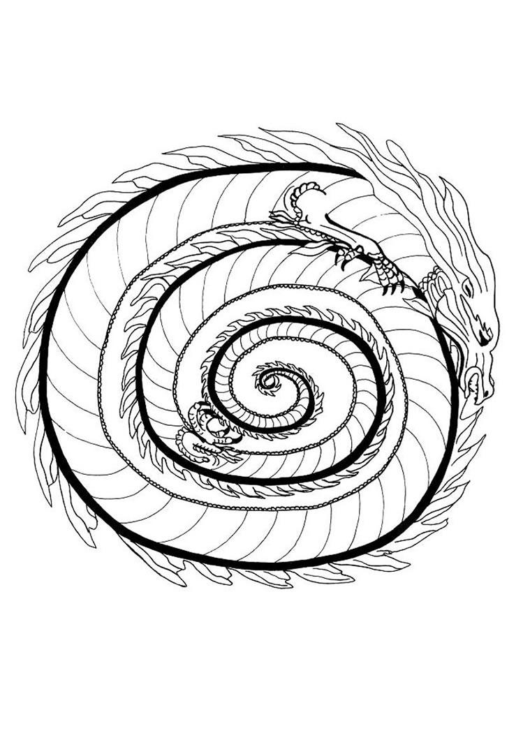 749x1060 Free Printable Mandala Coloring Pages Fire Dragon Mandala