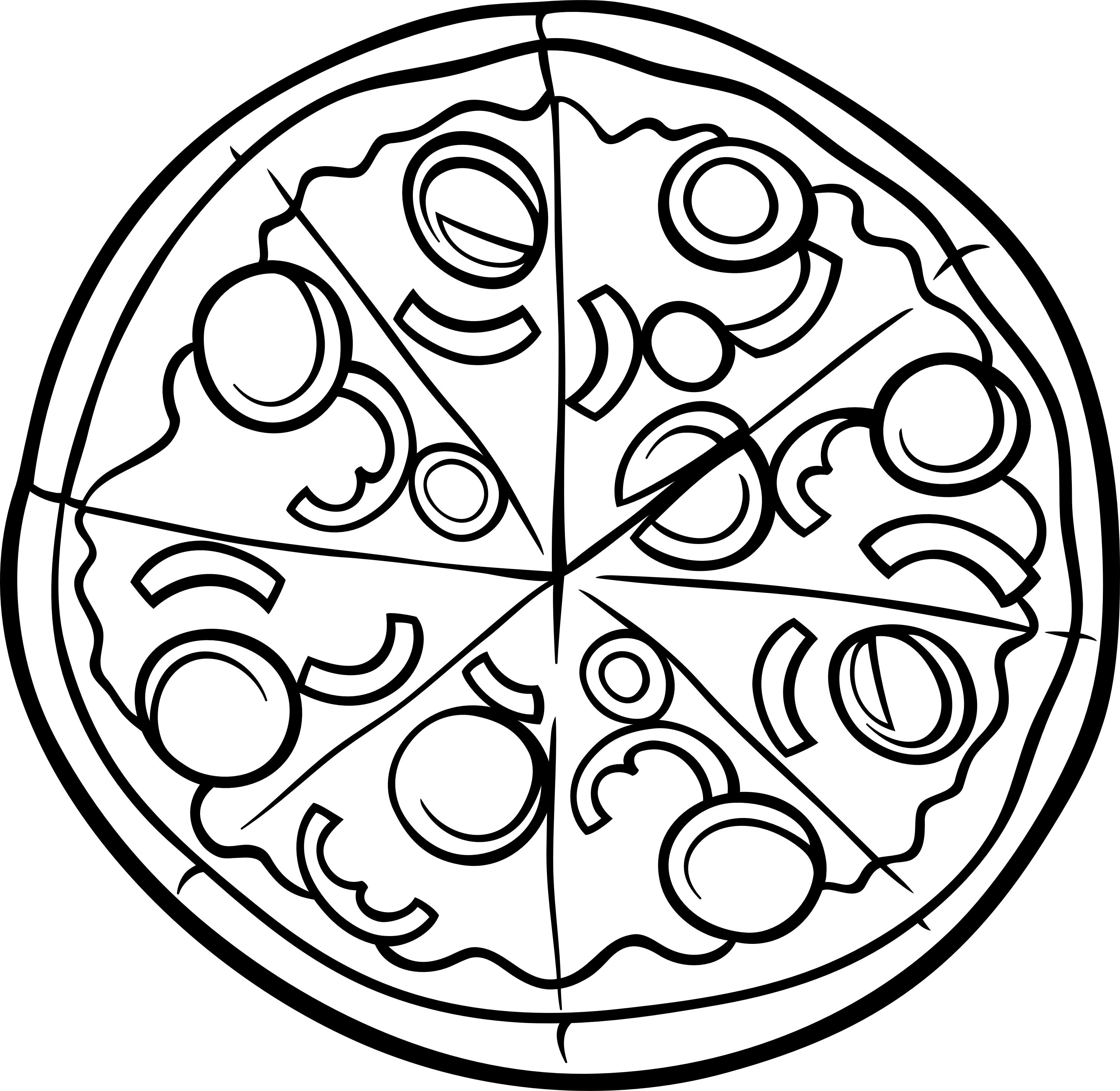 3000x2922 Pizza Coloring Page Printable Coloring Food Art