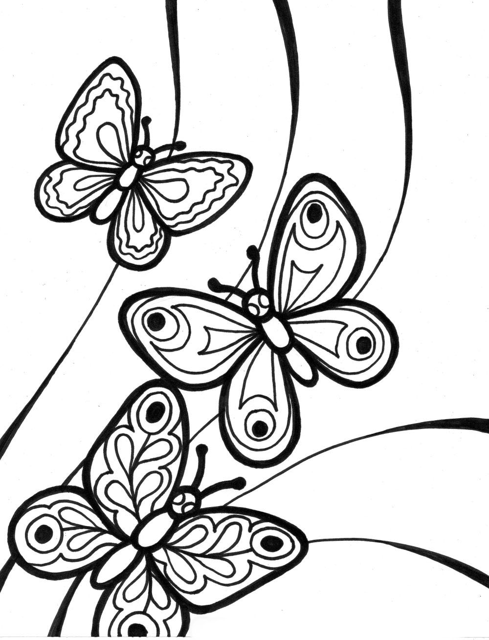 1000x1310 Mariposas Para Colorear Faciles Dibujos Adult Coloring