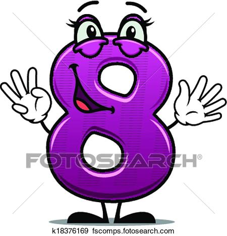 450x467 Clip Art Of Adorable Happy Number 8 K18376169