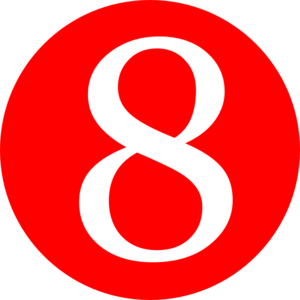 300x300 Red, Rounded,with Number 8 Clip Art