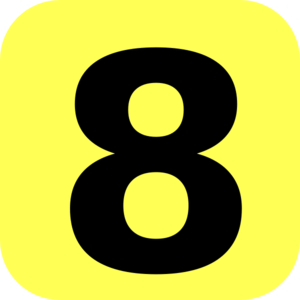 300x300 Yellow Rounded Number 8 Clip Art