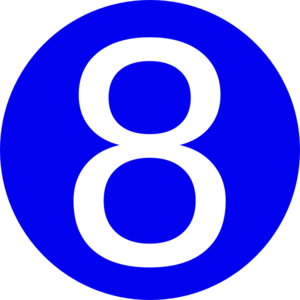 300x300 Blue, Rounded,with Number 8 Clip Art