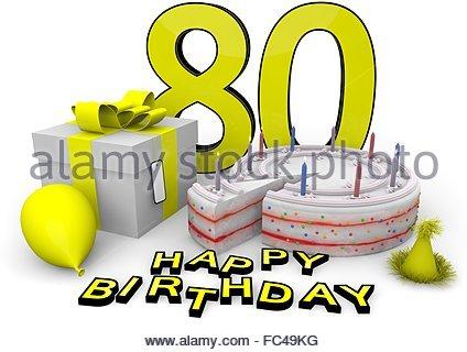 424x320 Happy Birthday Zum 80. Geburtstag Stock Photo, Royalty Free Image