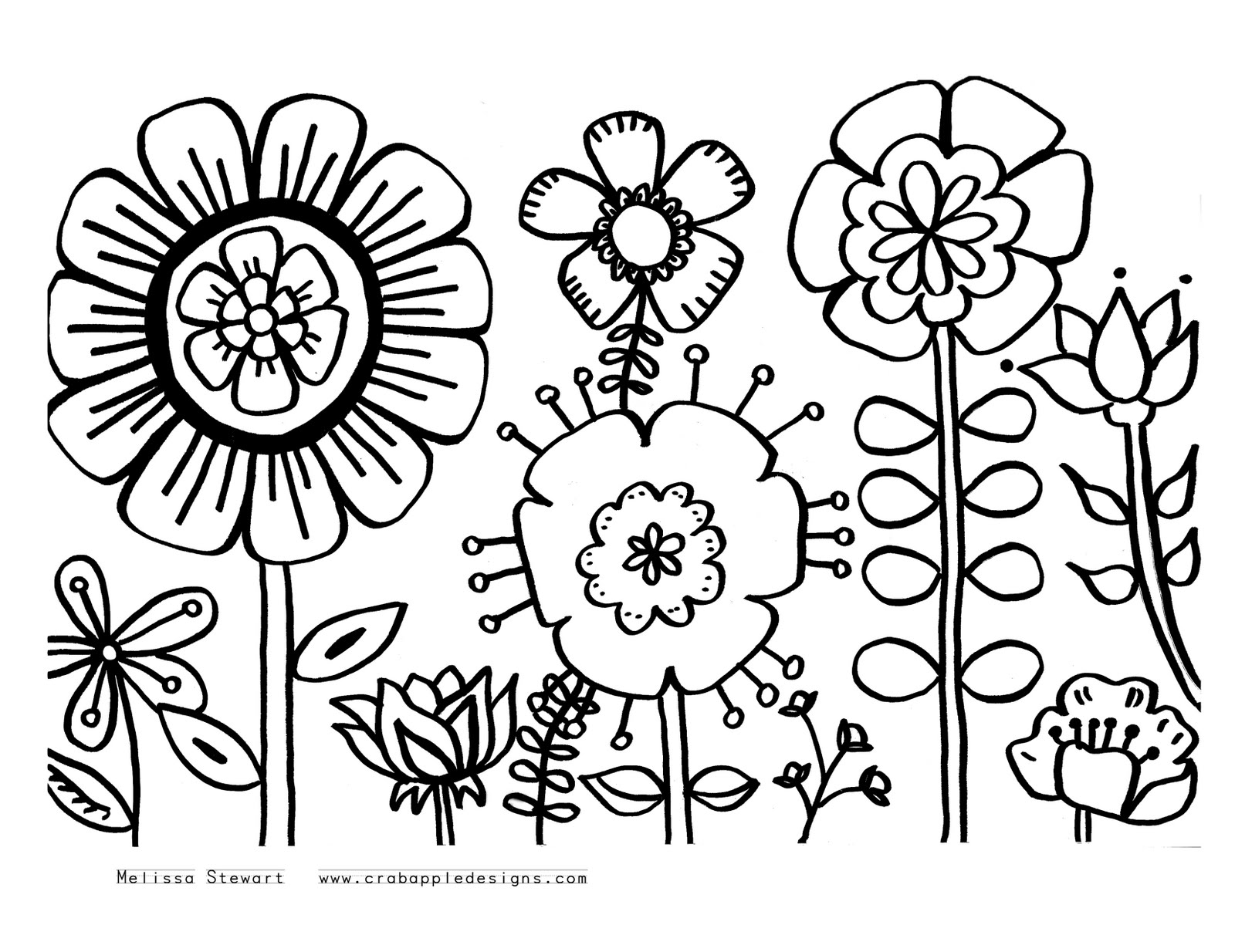 1600x1234 Summer Flowers Printable Coloring Pages