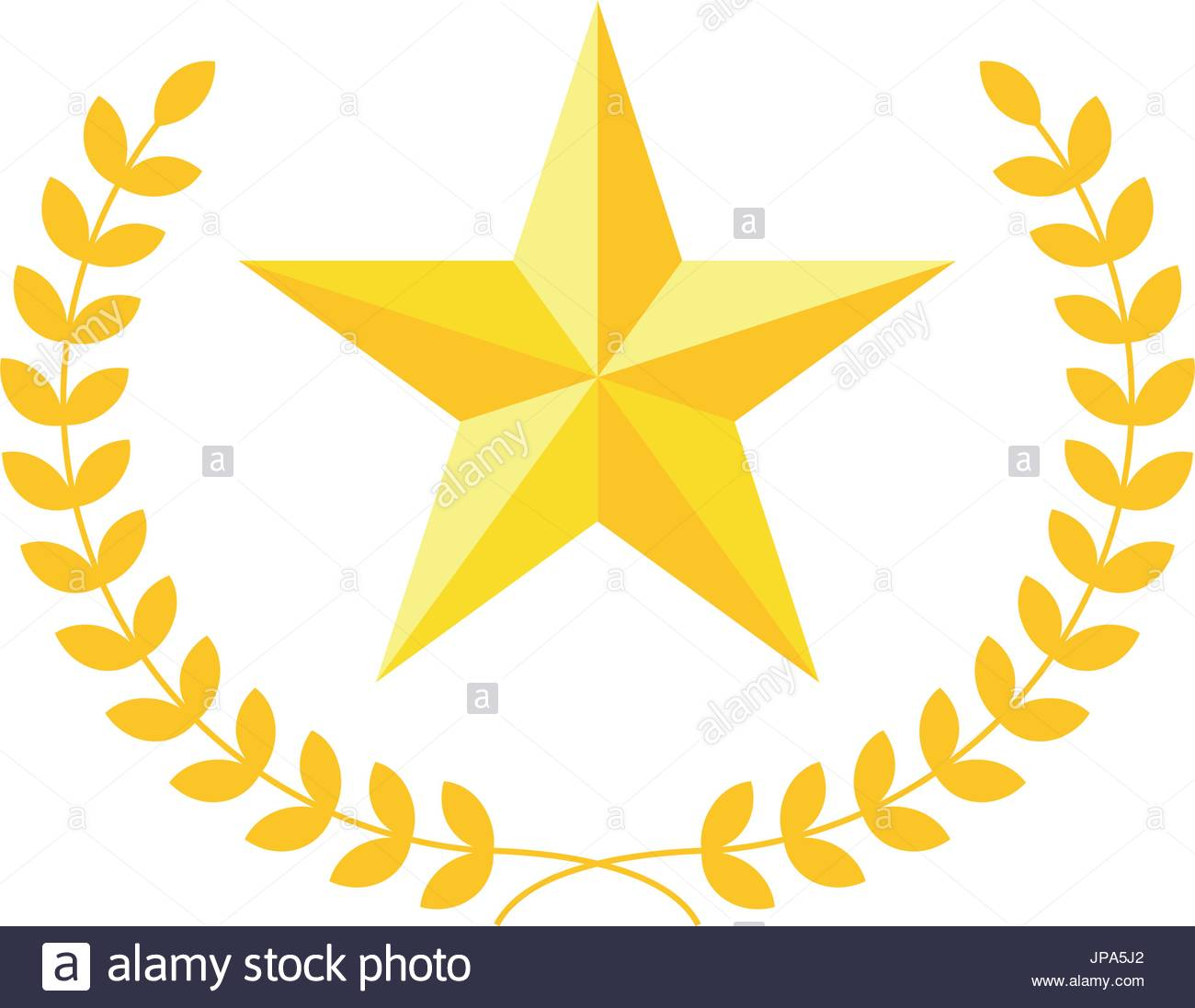 1300x1097 Five Pointed Star Vector Icon With Laurel Wreath. Modern Flat